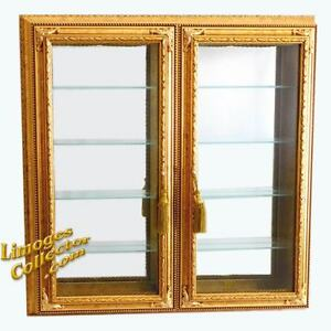 Italian Gold Gilt Double Door Vitrine Wall Display Curio Cabinet Glass Shelves