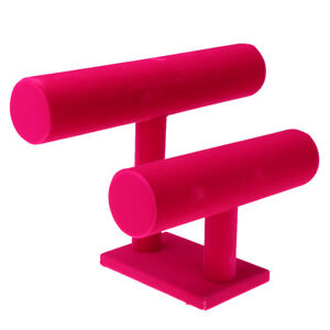 Hot Pink T bar Jewelry Bracelet Necklace Watch Display Stand Woman Gift