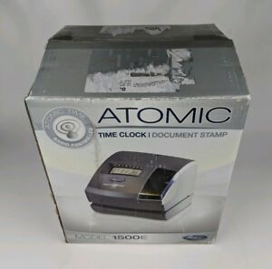 Lathem Atomic 1500e Time Clock Document Stamp Radio Controlled Wireless Nib