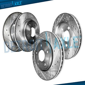 277mm Front 266mm Rear Drilled Brake Rotor For Subaru Impreza 9 2x Forester