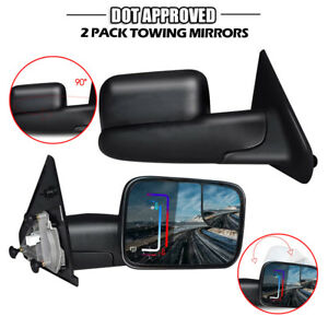 New Driver Passenger Power Heat Towing Mirrors For Dodge Ram 1500 02 08