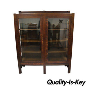Mission Arts Crafts Stickley Era Glass Double Door China Cabinet Bookcase