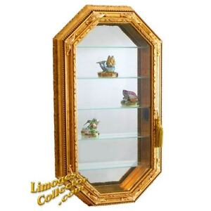 Italian Gold Gilt Hexagonal Vitrine Wall Display Curio Cabinet Glass Shelves