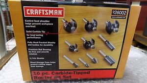 New In Box Seal Craftsman 10 pc Router Bit Set Carbide tipped 26002