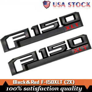 2 F150 Xlt Black Red Fender Tailgate Emblem Badge 3d W Ford F 150 Genuine Parts