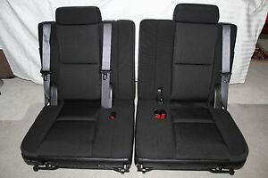 2007 2014 Tahoe 3rd Third Row Seat Black Ebony Cloth Yukon Xl Suburban 07 14