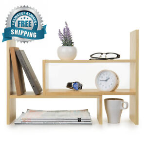 Adjustable Natural Wood Desktop Storage Organizer Display Shelf Rack
