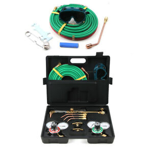 Gas Welding Cutting Kit Oxy Acetylene Oxygen Torch Brazing 15 x 1 4 Twin Hose