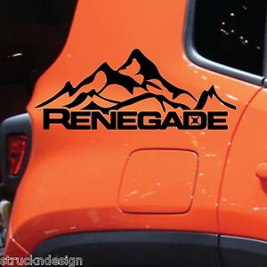 Jeep Renegade Mountain Logo Graphic Vinyl Decal Sticker Side Reflective Chrome