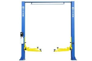 New Titan 9 000 Lbs 2 post Auto Lift clearfloor Model With Asymmetric Arms