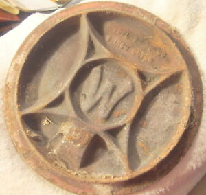 Vintage W Logo 8 Inch Wood Cast Iron Stove Cover Top Westinghouse