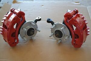 94 95 Mustang Spindles 79 93 5 Lug Conversion W Pbr Twin Piston Calipers Red