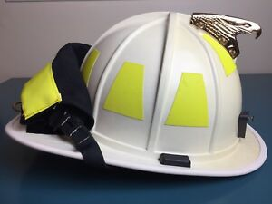 2010 Morning Pride Bf2 Gold Eagle White Fire Firefighter Helmet With Goggles
