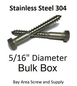 Lag Screws Hex Head Stainless Steel 5 16 X 5 Qty 300
