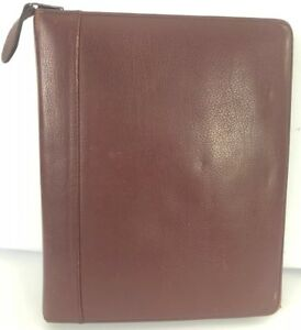 Red Leather Franklin Covey Planner Binder Organizer Zip Burgundy 2 Rings