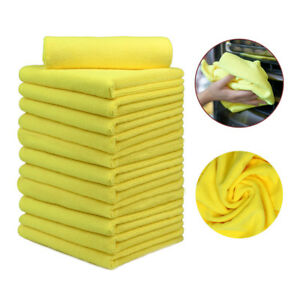 12 Pcs Microfiber Towels Car Boat Wash Clean Dry Polishing Cloths 16 x24 Yellow