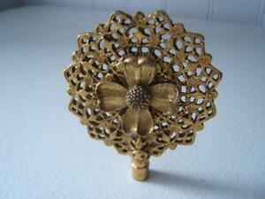 Vintage Large Brass Flower Filigree Ornate Lace Finial 2 3 8 Wide Not Threaded