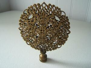 Vintage Large Brass Filigree Ornate Lace Lamp Finial 3 1 4 Wide