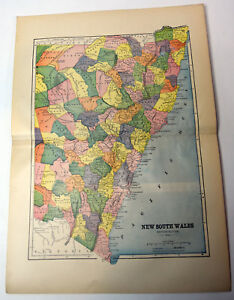 1890s Antique Original 15 Map Nsw New South Wales Australia