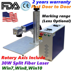 30w Split Fiber Laser Engraving Marking Machine Ratory Axis Included Us Stock