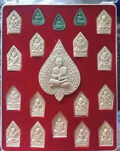 Thai Amulet Charm Monk Framed Mounted Buddhist Pottery Amulets