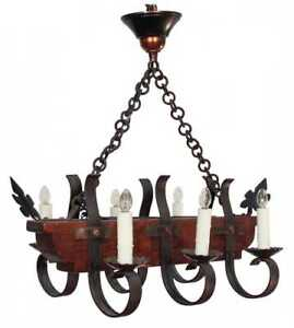 French Rustic Iron And Wood Chandelier