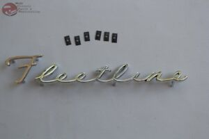 41 48 Chevy Passenger Car Fleetline Script Rear Trunk Deck Lid Emblem New