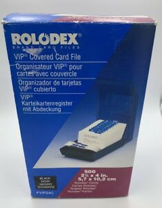 Brand New Rolodex Black Vip 24c Covered Card File 500 Cards 1997 Vintage