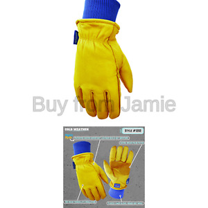 Wells Lamont Water Resistant Very Warm Leather Work Gloves Thinsulate Insula