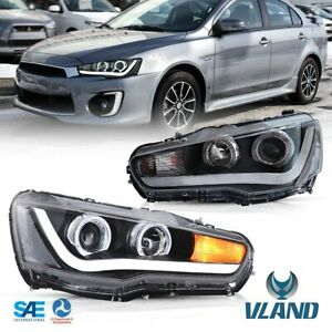 Led Headlights For 2008 2017 Mitsubishi Lancer Evo X Sequential Drl Head Lamp