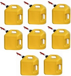 8 Ea Midwest 8600 5 Gallon Yellow Poly Diesel Fuel Can Containers W Spouts