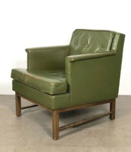 Vintage Distressed Leather Green Wormley Dunbar Lounge Club Chair Mid Century