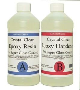 Epoxy Resin Crystal Clear 32 Oz Kit For Super Gloss Coating Tabletops