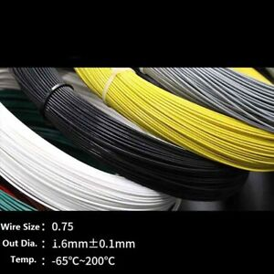 0 75mm Teflon Silver Plated Copper Cable Stranded Wire Black yellow blue white