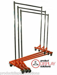 Adjustable Height Commercial Grade Rolling Display Z Rack Orange Base