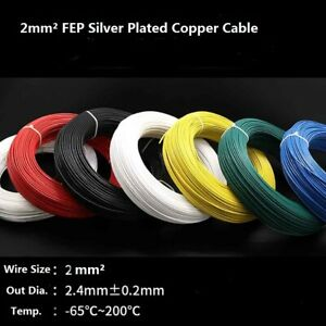 2mm Pfep Teflon Silver Plated Copper Cable Stranded Wire 200 300v O d 2 4mm