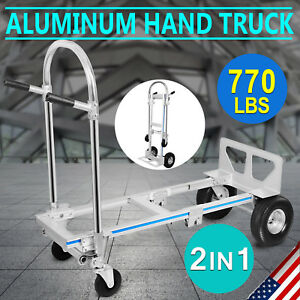 2 In 1 Aluminum Hand Truck Dolly Utility Cart Heavy Duty 770lbs Capacity