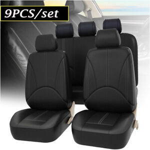9pcs Pu Leather Car Seat Cover Universal Front Rear Seat Cushion Mat Protector