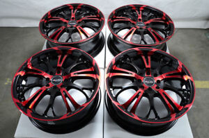 17 4x100 4x114 3 Red Wheels Fits Accord Civic Spark Tiburon Integra 4 Lug Rims