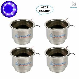 4pcs 8 Led Blue Stainless Steel Cup Drink Holder With Drain For Marine Boat Rv