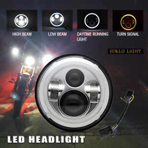 7 Motorcycle Projector Hid Led Round Light Bulb Headlight For Harley