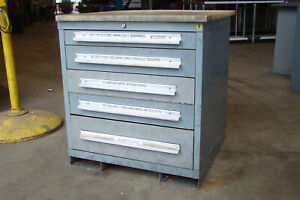 Stanley Vidmar 5 Drawer Industrial Tool Cabinet With Poly Table Top