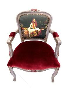 Vintage The Lady Of Shallot Bergere Armchair Antique Arm Chair
