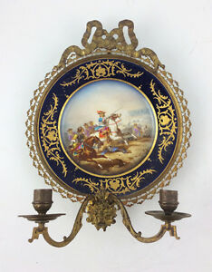 Antique Sevres Style French Hand Painted Gilt Brass Sconce Mounted Plate Battle