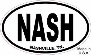 Nash Nashville Oval Euro Vinyl Sticker Decal