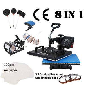 8 In 1 Digital Transfer Sublimation Heat Press Machine W Transfer Paper