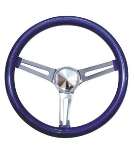Mooneyes Blue Metalflake Slotted Steering Wheel 15 Hot Rod Rat Vtg Gs270cmbl
