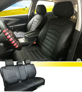 New Pu Leather Full Set Auto Seat Cushion Covers Compatible To Toyota 255 Bk F