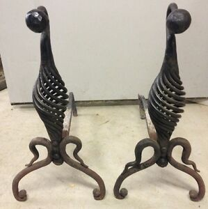 Antique Vintage Andirons Hand Forged Rare Twist Style Circa 1800s