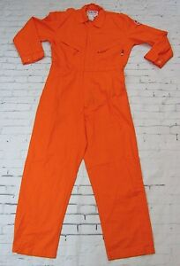 Walls Fire Flame Resistant Fr Coveralls Jump Suite Bright Orange Size 46 Tall
